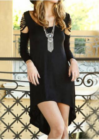 Solid Back Cross Asymmetric Dress Without Necklace Solid