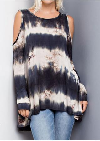 Tie Dye Off Shoulder O-Neck Blouse