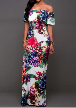 Floral Ruffled Slash Neck Maxi Dress