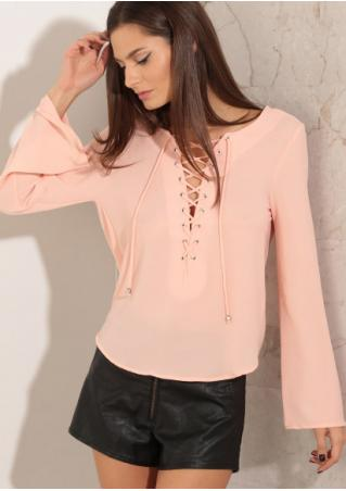 Solid Lace Up Backless Cross Blouse