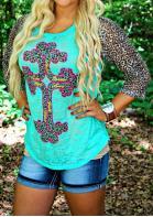 Leopard Splicing Cross T-Shirt Tee - Green