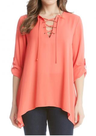 Solid Asymmetric Lace Up Tab-Sleeve Blouse