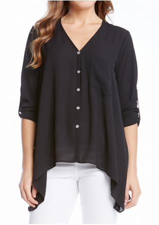 Solid Asymmetric Pocket Tab-Sleeve Blouse