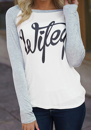 Letter Printed Splicing O-Neck T-Shirt