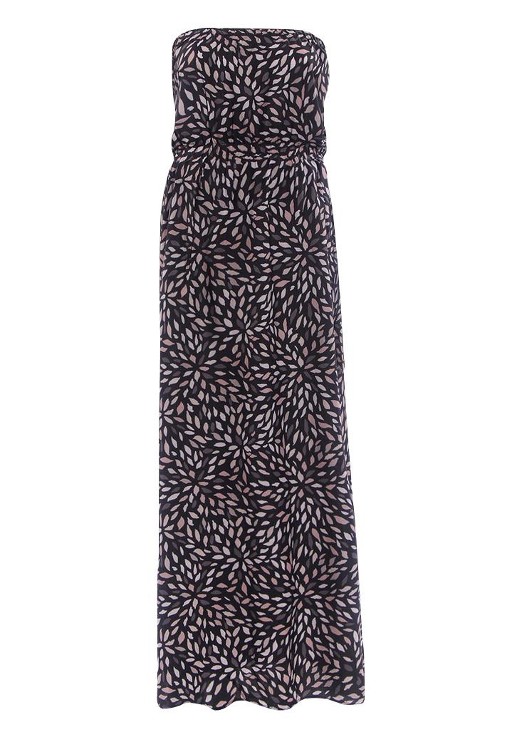 Rochie lungă, elegantă, sexy, cu imprimeu, fără mâneci și fără bretele
