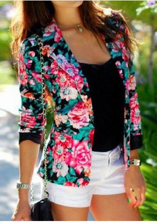 Floral Long Sleeve Blazer Without Necklace