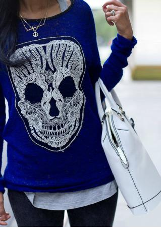Skull Long Sleeve Sweater Without Necklace