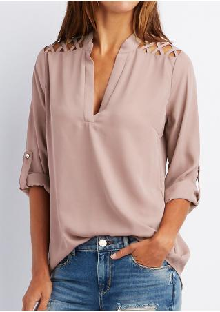 Solid Tab-Sleeve Hollow Out Blouse Without Necklace