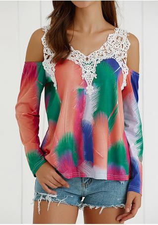 Tie Dye Lace Splicing Off Shoulder Blouse