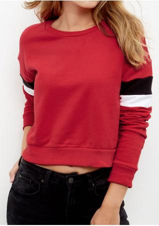 Color Block Long Sleeve Sweatshirt Color