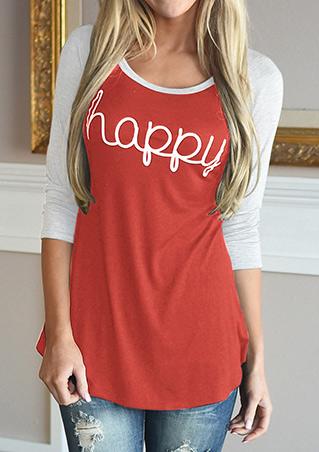 HAPPY Letter Printed Splicing T-Shirt