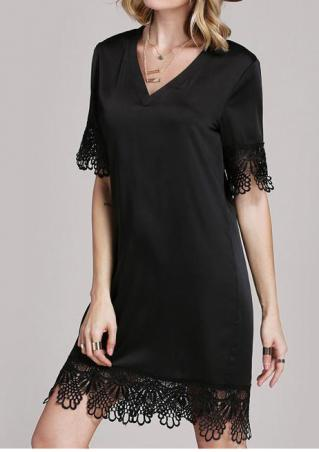 Solid Lace Splicing Casual Dress Without Necklace