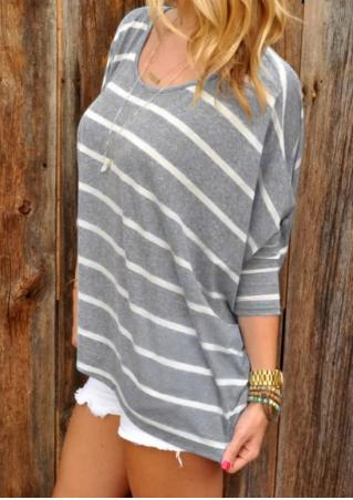 Striped Batwing Sleeve Blouse Without Necklace