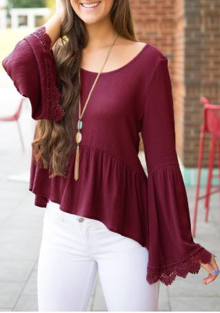 Solid Lace Splicing Asymmetric Blouse Without Necklace