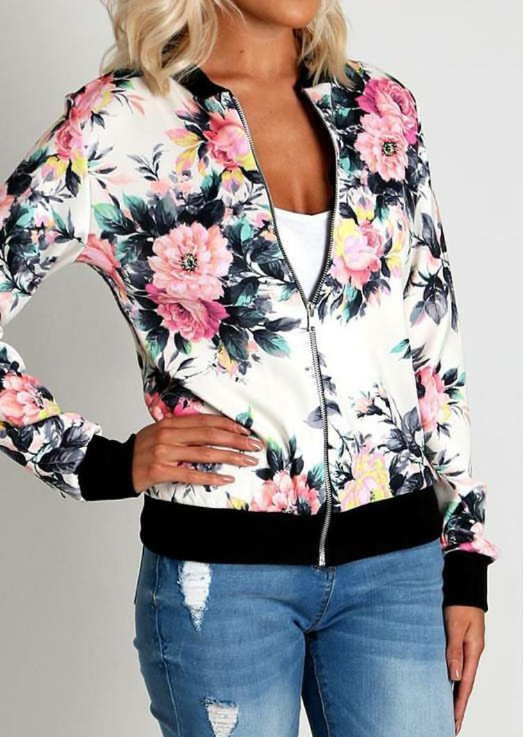 Floral Printed Zipper Jacket 88536 фото