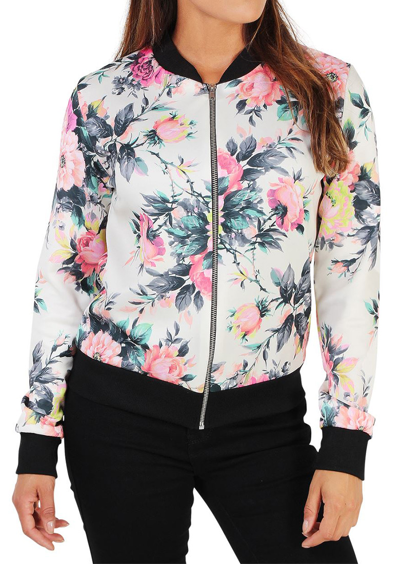Image of Floral Printed Zipper Jacket