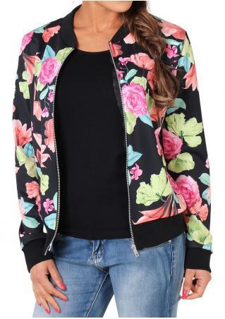Floral Zipper Jacket