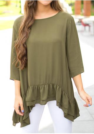 Solid Asymmetric Layered Blouse Without Necklace Solid