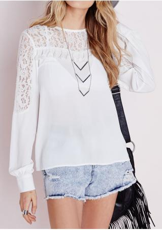 Solid Tassel Lace Splicing Blouse Without Necklace