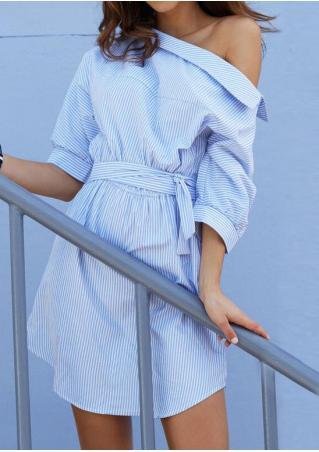 Striped Slash Neck Button Casual Dress