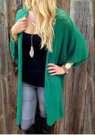 Slit Knitted Loose Long Cardigan