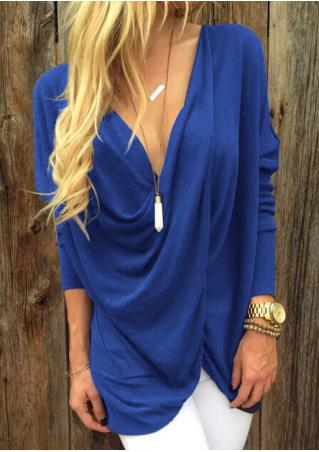 Solid Cross Asymmetric Blouse Without Necklace