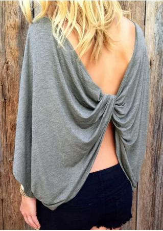 Solid Back Twisted Backless Blouse Without Necklace Solid
