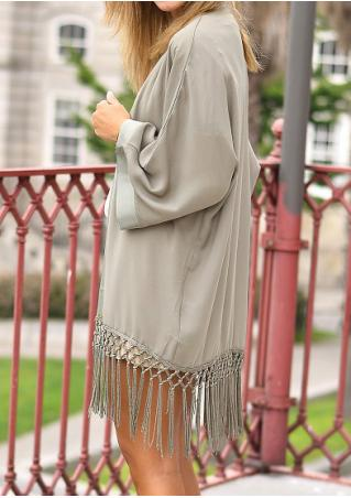 Splicing Tassel Loose Casual Cardigan