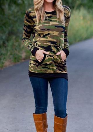 Camouflage Printed Kangaroo Pocket Sweatshirt Camouflage