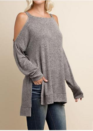 Solid Asymmetric Off Shoulder Loose Blouse