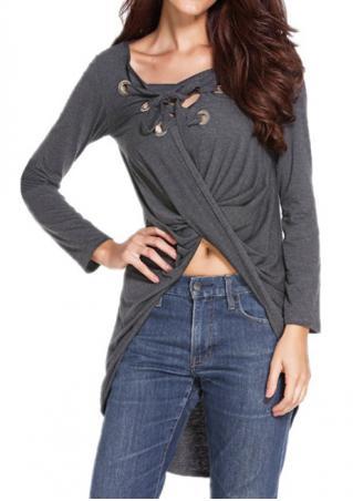 Solid Lace Up Draped Asymmetric Plus Size Blouse