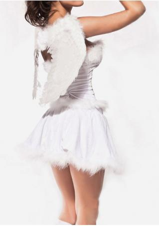 White Halloween Costume Feather Wings