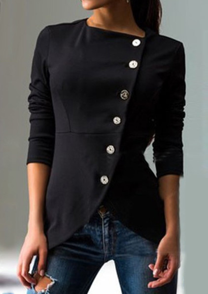 Image of Solid Button Asymmetric Slim Coat