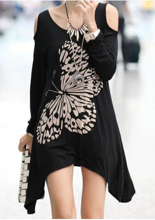 Butterfly Printed Asymmetric Off Shoulder Blouse Without Necklace