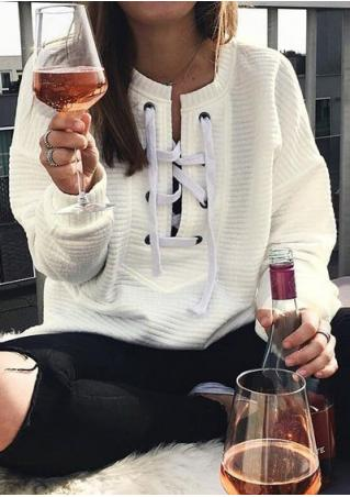 Solid Lace Up Casual Sweatshirt