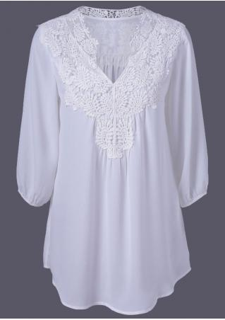 Solid Lace Splicing V-Neck Blouse