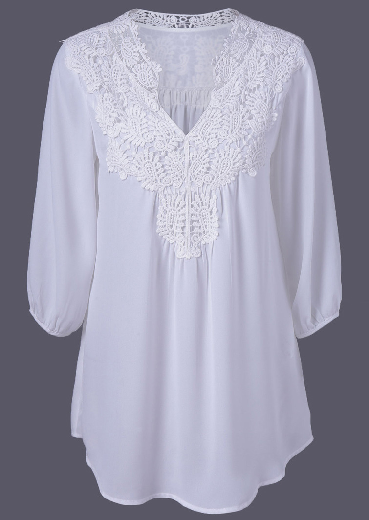 Solid Lace Splicing V Neck Blouse Fairyseason