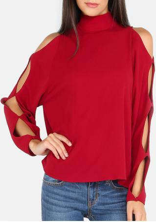 Solid Hollow Out Back Button Blouse
