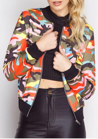 Multicolor Camouflage Printed Zipper Jacket