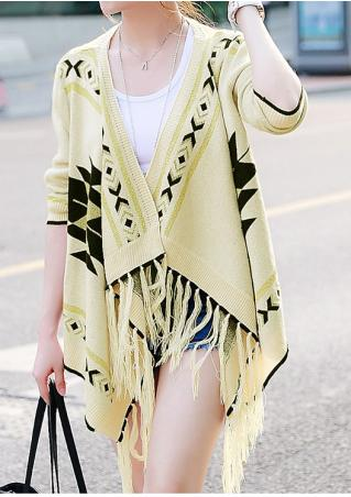Geometric Tassel Splicing Knitted Cardigan Without Necklace