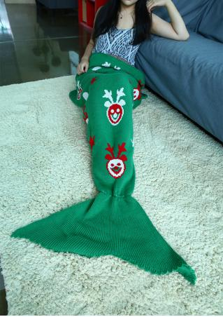Christmas Reindeer Pattern Mermaid Tail Blanket