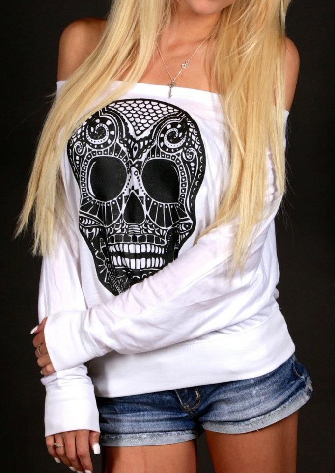 Skull Printed Slash Neck Blouse Without Necklace Fairyseason