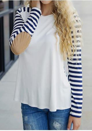 Striped Splicing Elbow Patch T-Shirt