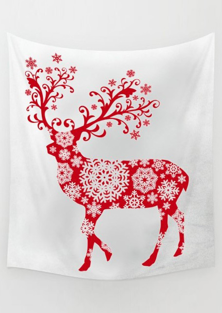 Image of Christmas Reindeer Printed Rectangle Tapestry