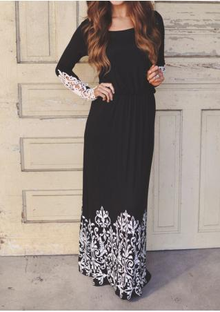 Printed Lace Detail Sleeve Maxi Dress