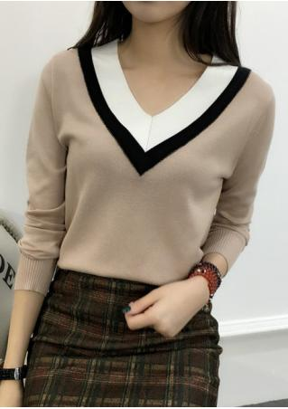 Color Block Long Sleeve Sweater Color