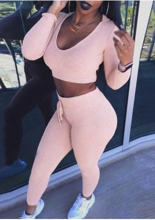 Solid Hooded Crop Top Leggings Set