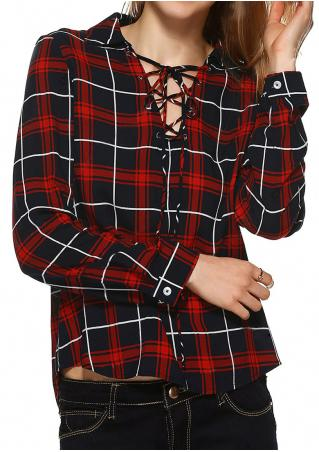 Plaid Lace Up Long Sleeve Blouse
