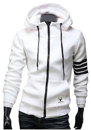 Striped Detail Sleeve Zipper Hoodie