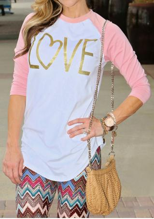 LOVE Printed Splicing O-Neck T-Shirt